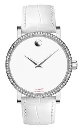 woman clock: Reloj lujo dama plata en una correa de cuero Foto de archivo