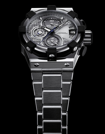 Luxury mens steel wrist watch with steel bracelet photo