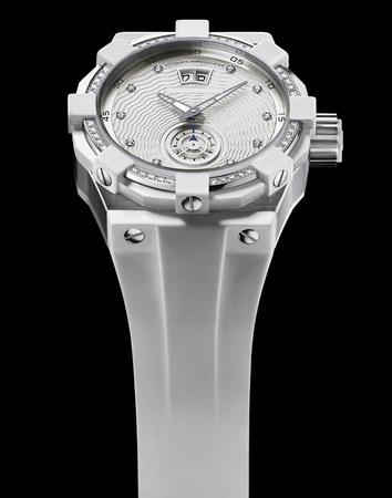 Luxury Ladies steel wrist watch with diamonds bezel and white rubber strap photo