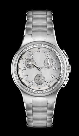 Luxury Mens Wrist Watch with diamond bezel and steel bracelet photo