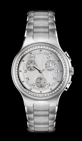expensive: Luxury Mens Wrist Watch with diamond bezel and steel bracelet
