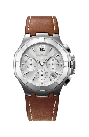 Luxury Mens Wrist Watch with brown leather strap, isolated on white background Stock Photo