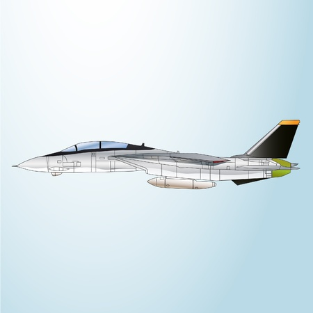 vector illustration Army fighter jet side view Illustration