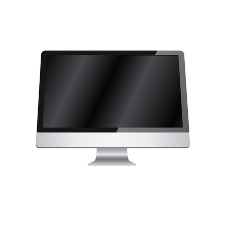 Modern vector lcd monitor isolated on white