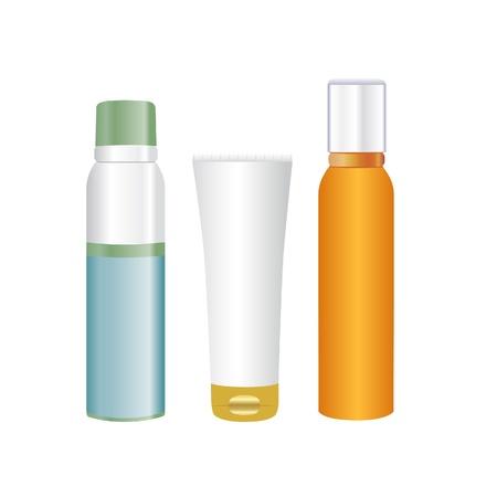 productos de belleza: Spray y crema cosm�tica embalaje. Aisladas sobre fondo blanco Vectores