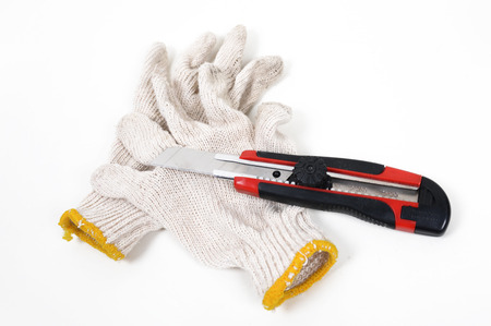 Work gloves and paper knife