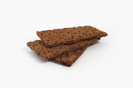 Dietary rye bread on white background