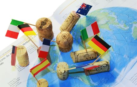 Worldwide wine-making (wine corks set on world map)
