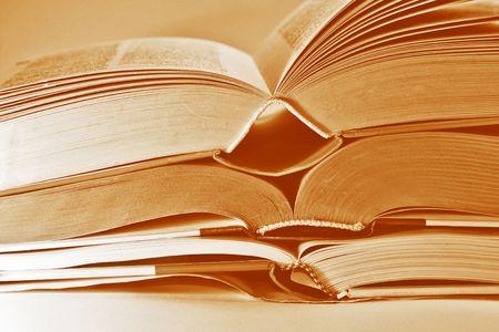 scientific literature: Close-up of three book bindings, tinted photo Stock Photo