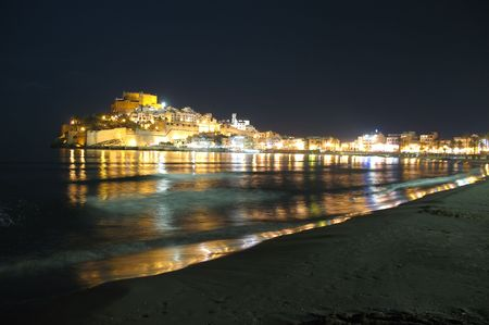 Peniscola Castle in Spain, night view Stock Photo