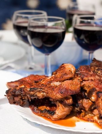 Grilled marinated barbecue meat with red wine, shallow DOF