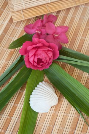 Decoration at the beautiful vacation: rose and oleander flowers set on a bamboo mat with a seashell and bamboo leaves photo