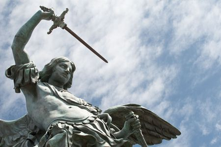 castel: Detail of the Saint Michael statue on the top of Castel Sant`Angelo in Rome Stock Photo