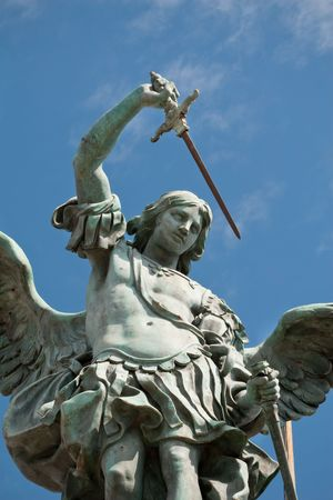 saint michael: Saint Michael statue on the top of Castel Sant`Angelo in Rome