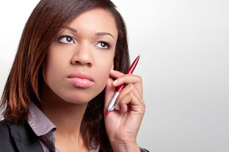 Young thoughtful businesswoman Stock Photo - 7305048