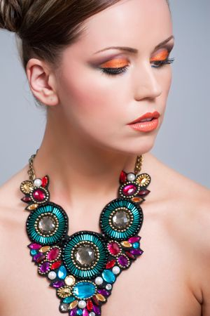 Young woman with beautiful makeup and necklace Stock Photo - 7305032