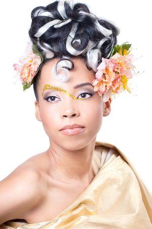 maquillaje de fantasia: Hermosa joven con maquillaje de fantas�a y Peinado rizado