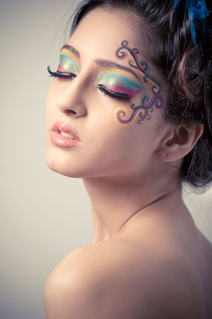 bare shoulders: Beautiful young girl with fantasy makeup