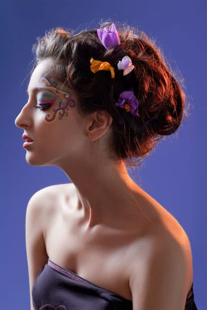 Beautiful young girl with fantasy makeup Stock Photo - 7305085