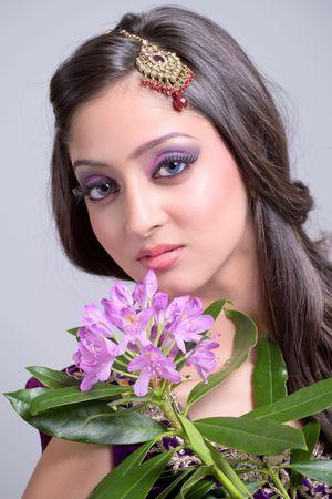 Beautiful asian girl with bridal makeup photo