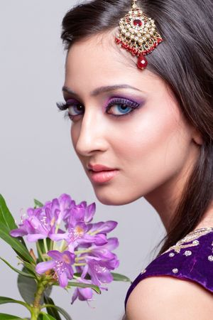 Beautiful asian girl with bridal makeup photo