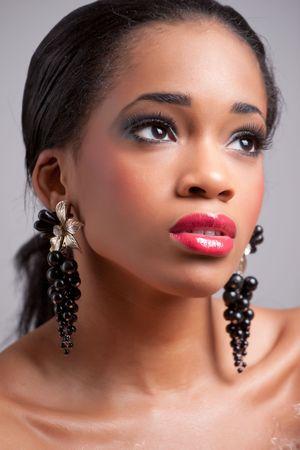 Beautiful black girl, studio portrait