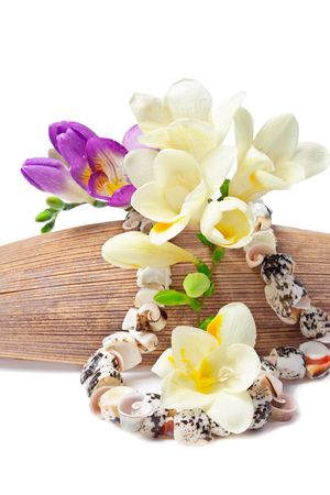Summer souvenir (Shell necklace set with a freesia flowers on a coco palm leaf) photo