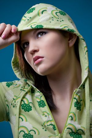 Portrait of a young teen girl wearing casual clothes photo