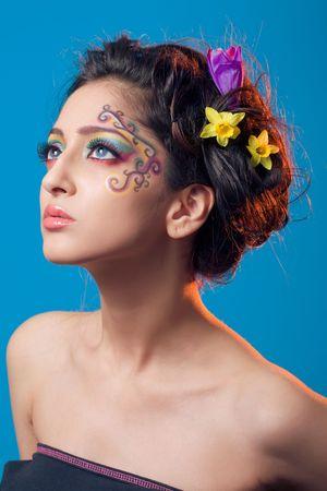 maquillaje fantasia: Retrato de una ni�a con maquillaje de fantas�a  Foto de archivo
