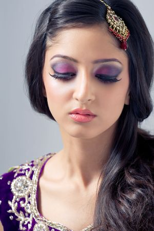 Beautiful asian woman with bridal makeup photo