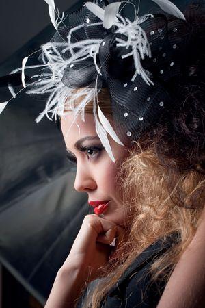 Portrait of a young beautiful model, retro fashion style Stock Photo - 8133158