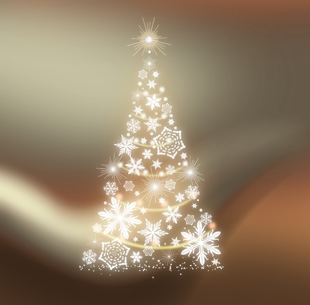 Golden snowflakes Christmas tree background