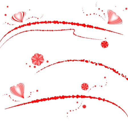 Beautiful abstract background with red hearts and flowers Stock Photo - 8280167