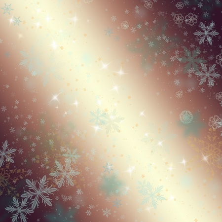 Golden christmaswinter background with snowflakes photo