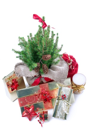 Holiday decorations and presents uder the christmas tree photo