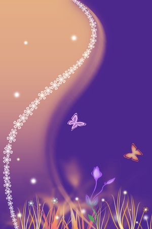 Beautiful spring purple background with flowers photo