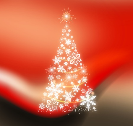 Beautiful red background with Christmas tree of snowflakes photo