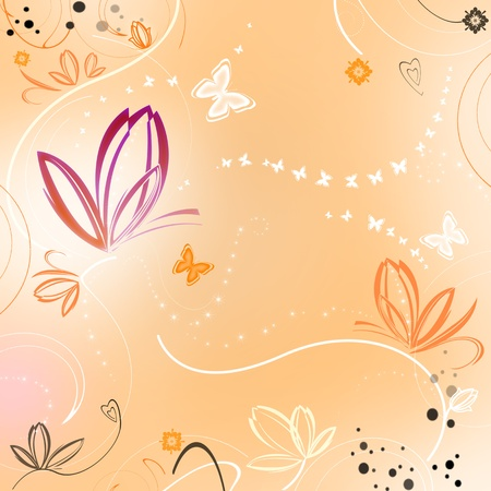 Beautiful spring orange background with flowers and butterflies photo