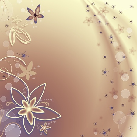 Beautiful abstract blue background with flowers and bubbles Stock Photo - 8360470