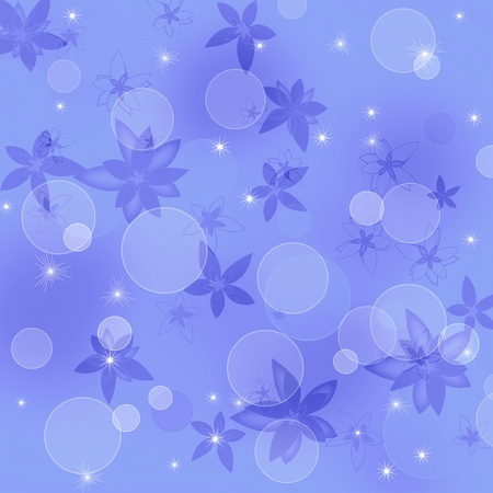 Violet floral background with flowers and bubbles photo