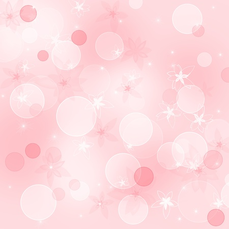 Pink floral background with flowers and bubbles photo