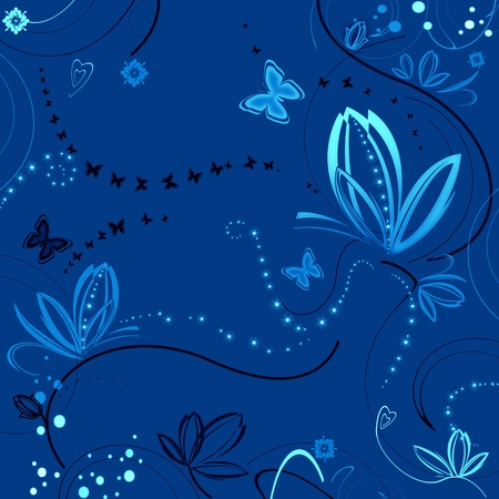 Beautiful blue background with flowers and butterflies photo