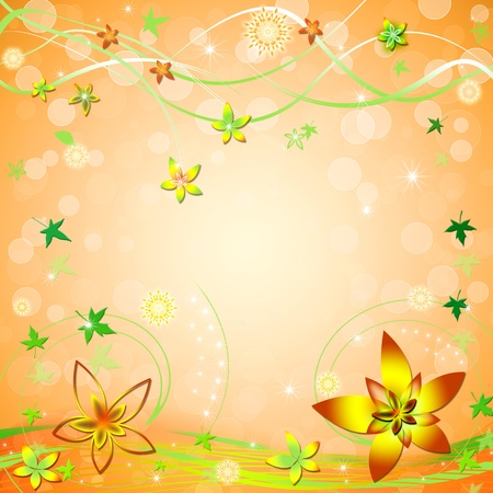 Beautiful spring/summer orange background with leaves and flowers Stock Photo - 8404750