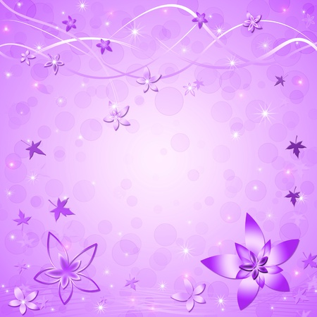 purple stars: Beautiful springsummer violet background with leaves and flowers Stock Photo