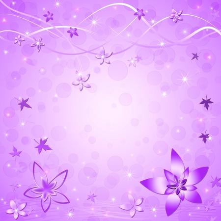 estrellas moradas: Hermoso fondo violeta de primaveraverano con hojas y flores