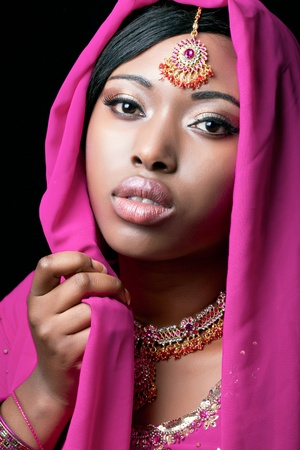 Beauty portrait of a young indian woman, closeup shot Stock Photo - 8853276