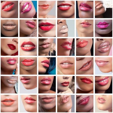 Collage of 36 lips closeup images of women of different ethnicities (african, indian, caucasian) photo