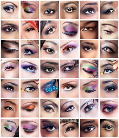 cosmetics collection: Collage of 42 eyes closeup images of women of different ethnicities (african, asianindian, caucasian) with creative colorful makeups