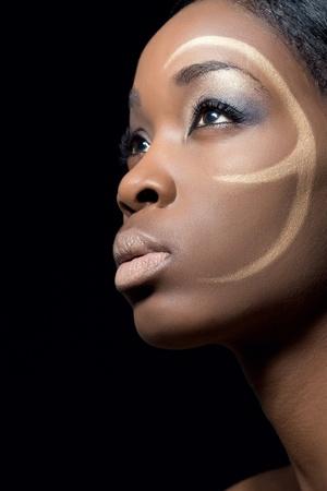 검은 메이크업, 근접 촬영, 블랙 패션 모델의 아름다움 샷