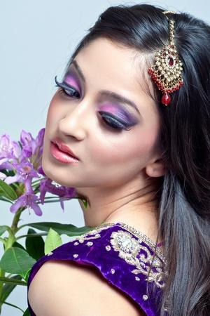 bridal makeup: Beautiful indian woman with bridal makeup, closeup shot